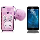 iPhone 7 Plus Rabbit Case, iPhone 7 Plus Case Bling, Bonice Cartoon Diamond Crystal Clear Soft Transparent TPU 3D Cute Ear Stand Silicone Case with Hairball Pompon Wristlet + Screen Protector - Purple