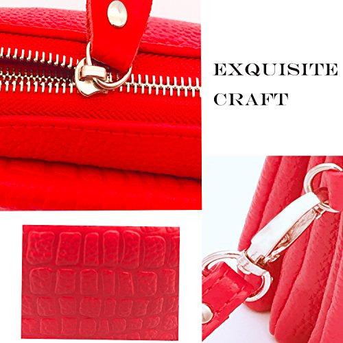 Bolso de cuero genuino del embrague del embrague, bolso de hombro del bolso de embrague de la tarde de las mujeres de Shalwinn con la correa del embrague y correa de hombro larga para el partido o la  887#-Rose Red