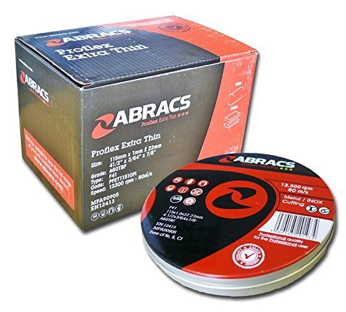Abracs Proflex 115 x 1 x 22mm Flat Inox Cutting Disc (10 Pieces) by ABRACS