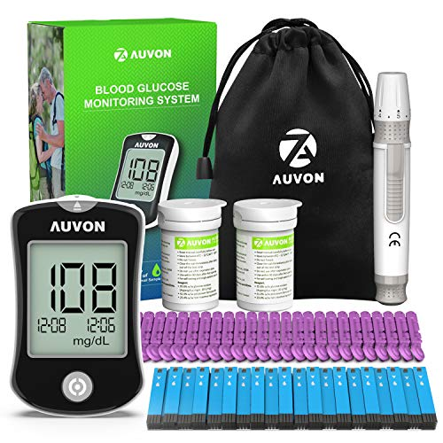 AUVON DS-W Blood Sugar Kit (No Coding Required), High-Tech Diabetes Blood Glucose Meter with 100 Test Strips, 25 30G Lancets, Lancing Device