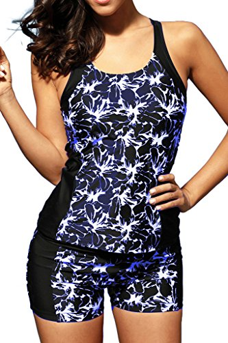 Boyshort Tankini (Summer Women Floral Print Racerback Tankini Top with Boyshort Two Piece Swimsuit Bikini Swimwear Blue S 4 6)
