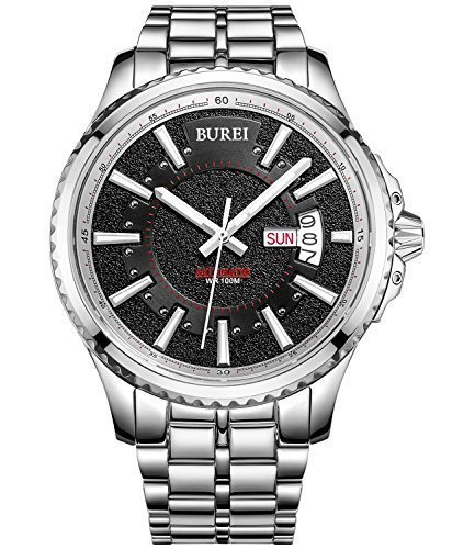 [BUREI Men's Stainless Steel Luminous Day and Date Automatic Watch with Silver Link Bracelet] (Date Swiss Automatic Watch)