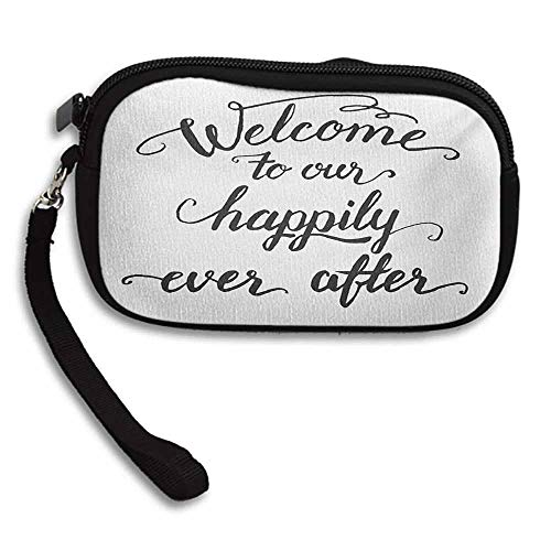 """Quote Women Wallets Vintage Fountain Pen Lettering Wedding Phrase Welcome to our Happily Ever After W 5.9""""x L 3.7"""" Wallet Ladies Mini Short Purse"""