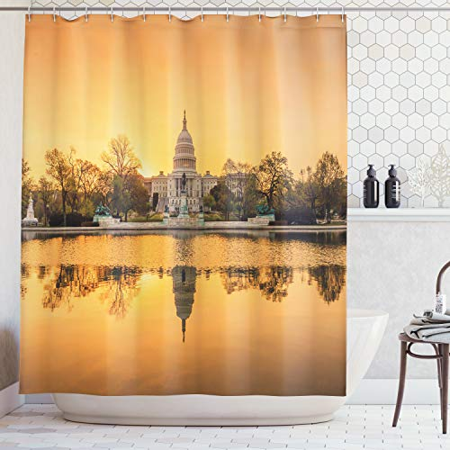 Shower Curtain Washington State - Ambesonne United States Shower Curtain, Washington DC American Capital City White House Above The Lake Landscape,Fabric Bathroom Decor Set with Hooks, 70 Inches, Apricot Ginger