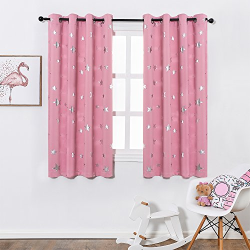 Anjee Foil Print Star Room Darkening Curtains for Girls Room and Nursery Room, Thick Grommet Window Drapes, W52 x L63, 2 Panels, Baby Pink