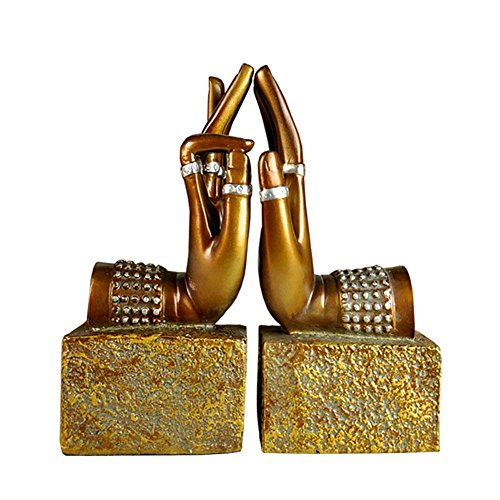 LPY-Set of 2 Bookends Resin Buddha Hand Style , Book Ends for Office or Study Room Home Shelf Decorative , Gold ()