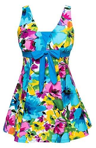 Floral Swimdress (Wantdo Women's Floral Swimdress Modest Swimwear Slimming Push up Skirtini Swimsuit Lakeblueflower 18W-20W)