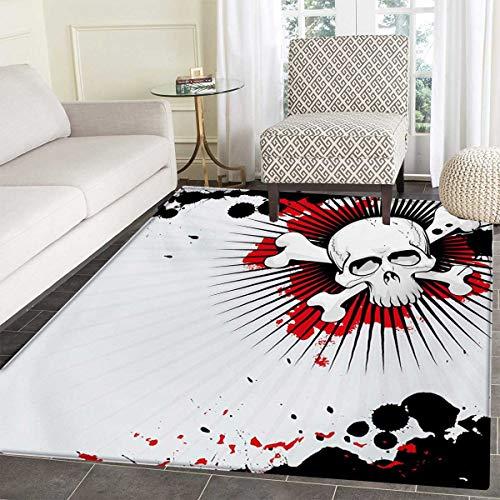 Halloween Bath Mat Non Slip Skull Crossed Bones Over Grunge Background Evil Scary Horror Graphic Customize Door mats Home Mat 30