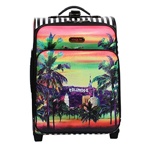 Tropical Hollywood Sign Design Rolling Lightweight Expandable Carry On Luggage Suitcase, Trees Geometric Stripes Themed, Softsided, Stylish, Multi Compartment, Soft Travel Bags, Multicolor, Size 21'' by S & E