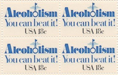 Alcoholism Block of Four 18 Cent US Postage Stamps Scott 1927