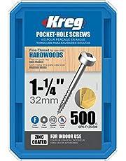 Kreg SPS-F125-500 1 1/4-Inch Pocket Hole Screws No.2 Fine, Pan-Head, 500 Count