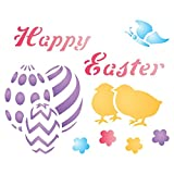 """easter decorating ideas HAPPY EASTER Stencil - (size 4""""w x 3.25""""h) Reusable Wall Stencils for Painting - Best Quality Easter Scrapbooking Ideas - Use on Walls, Floors, Fabrics, Glass, Wood, Terracotta, and More..."""