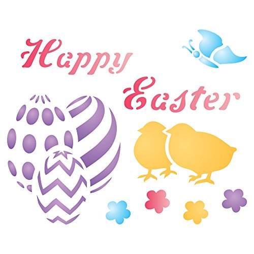 "HAPPY EASTER Stencil - (size 4""w x 3.25""h) Reusable Wall Stencils for Painting - Best Quality Easter Scrapbooking Ideas - Use on Walls, Floors, Fabrics, Glass, Wood, Terracotta, and (Easter Cakes Ideas)"