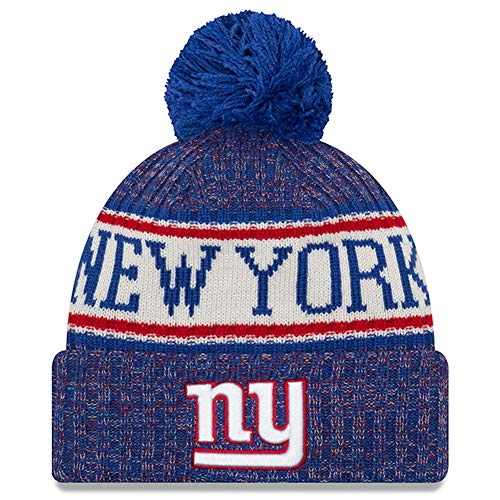 New Era Knit New York Giants Biggest Fan Redux Sport Knit Winter Stocking Beanie Pom Hat Cap NFL -