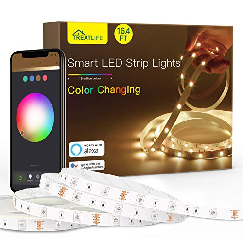 Smart Led Strip Lights, 16.4ft WiFi Rope Light Works with Alexa and Google Home 16 Million Color Changing, Music Sync…