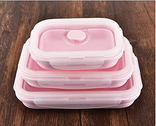 Labu Store 3pcs/ Set Portable Silicone Lunch box Collapsible Microwave Bento Box Salad Bowl folding Dishes food container lunchbox Plates -