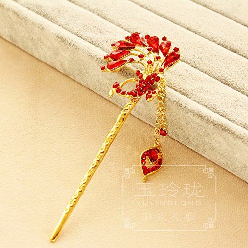 Chinese bride headdress red tassels step shake dish made hairpin Xiu dragon and phoenix gown Coronet costume jewelry made ()