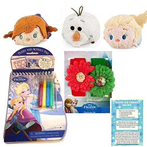 Bendon Frozen Puzzle & Activity Pad Gift Set Bundle w/ Frozen Flower Headwrap Set, Tsum Tsum Mini Bean Plush Elsa, Anna and Olaf 3.5 in. and Snow Ice Cream Recipe – Great Gift for little girls Ages 3+ -
