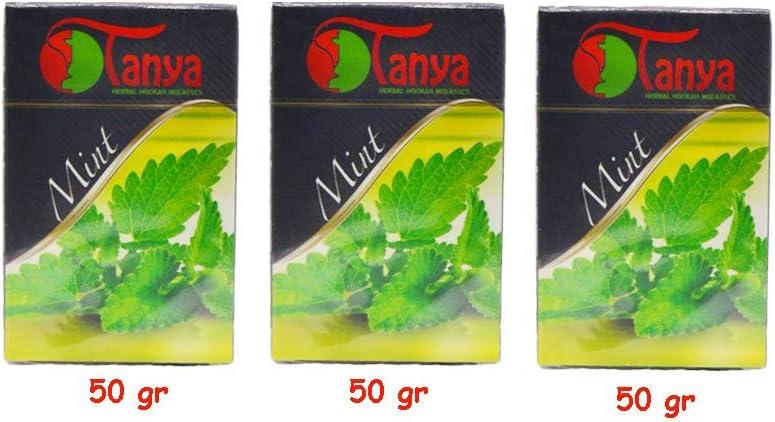 150 gr de melazaTanya, menta - 100% natural - sin tabaco y sin nicotina, Shisha Narguila narguile. Está compuesto de 3 paquetes de 50 gramos cada uno. Total 150 gramos