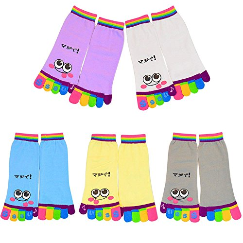 Socks Ankle Toe (5 Pairs Five Toes Trainer Toe Ankle Socks Valentine's Day Gift Girl Women Socks)