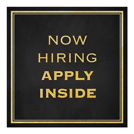 CGSignLab  Now Hiring Apply Inside -Classic Gold Repositionable Opaque White 1st Surface Static-Cling Non-Adhesive Window Decal   8