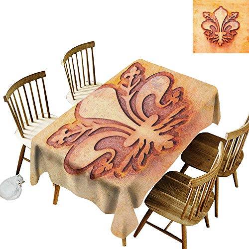 (W Machine Sky Dustproof Rectangular Tablecloth Fleur De Lis Lily Flower Symbol on Plate Floral Design Royal Arms France Sign Cultural Print W54 xL90 for Family Dinners,Parties,Everyday Use)