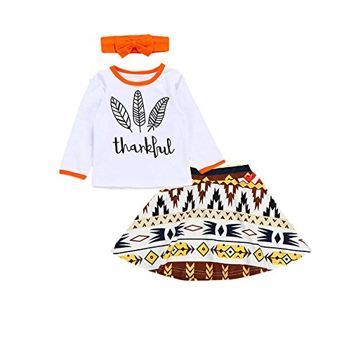 Cute Thanksgiving Outfits For Women (XiaoReddou Baby Girls Top Skirt Cute Bows Headband Thankful Feathers Toddler Casual 3pcs Outfits (White, Orange,)