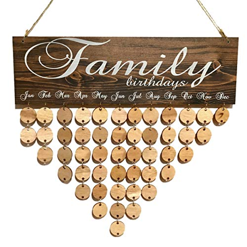 Vosarea Wooden Family Calendar Birthday Board Plaque DIY Hanging Wooden Birthday Reminder Calendar 50pcs Wooden Round Slices Discs and 50pcs Iron Loops Rings