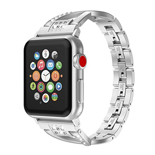 Wearlizer Silver Bling Compatible with iWatch Band 38mm 40mm Strap Stainless Steel X Wristband Fashion Beauty Replacement Metal Hand Removal Buckle Series 6 5 4 3 2 1