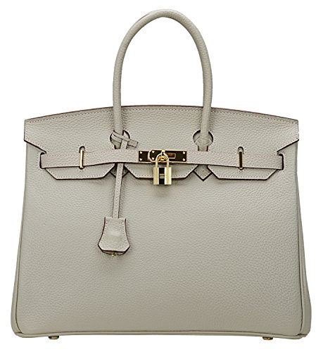 Cherish Kiss Women's Classic Genuine Leather Tote Padlock Handbags H35 (35CM, Grey) by Cherish Kiss