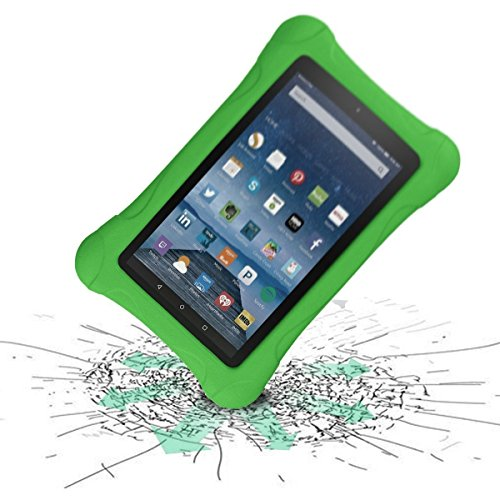 LTROP Shock Proof Case for Fire HD 8 2017 Tablet - Kids Shockproof Convertible Handle Light Weight Protective Stand Case for Fire HD 8-inch (7th Generation, 2017 Release), Green