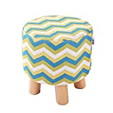 Cheap QVB Padded Round Child Foot Stool Short Ottoman Footrest for Gaming Chairs Arrow Yellow Green Color