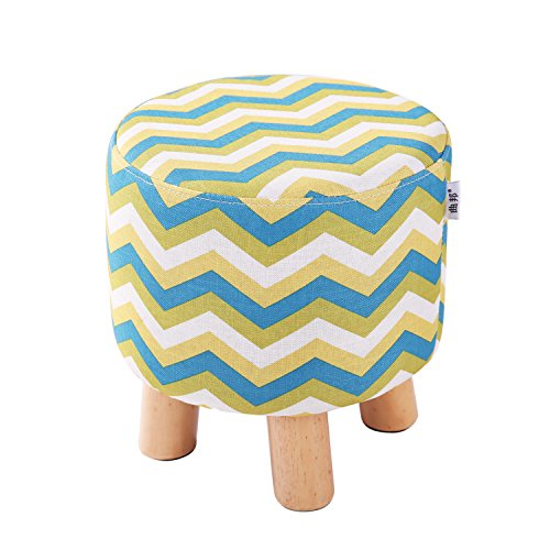 QVB Padded Round Child Foot Stool Short Ottoman Footrest for Gaming Chairs Arrow Yellow Green Color