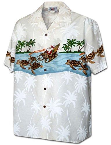 Turtle Sleigh Santa Men's Christmas Shirt 3918-WHITE-L