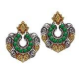 Jaipur Mart Indian Bollywood Glass Stone Two Tone Oxidised Dangle Earrings Green