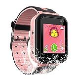 Waterproof Kids Smart Watch Girls Boys - IP67 Waterproof Children Smartwatch GPS/lbs Tracker SOS Camera Anti-Lost Summer Outdoor Sports Watch Phone (Pink)