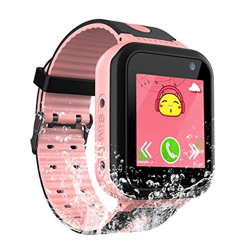 Waterproof Kids Smart Watch Girls Boys - IP67 Waterproof Children Smartwatch GPS/lbs Tracker SOS Camera Anti-Lost Summer Outdoor Sports Watch Phone (Pink) by SZBXD