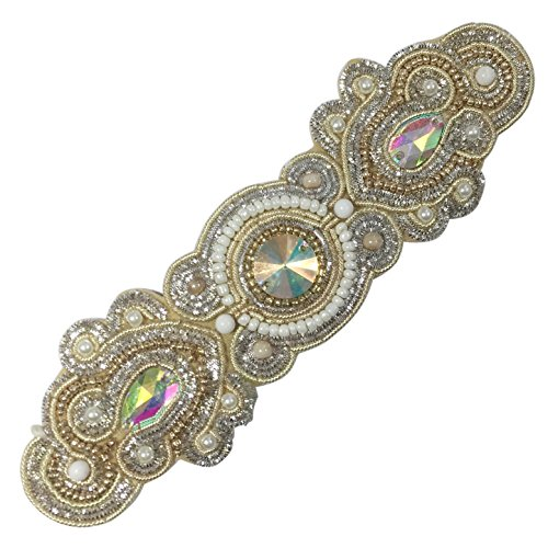 (Gypsy Jewels Bohemian Beaded Multi Color Statement Wired Adjustable Cuff Bracelet (2 Tone with AB))
