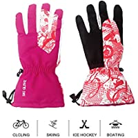 Mounchain Unisex Zipper & Pocket Anti-Slip PU Palm & Polyester Breathable Ski Gloves