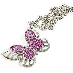 Silver Bling Pink Rhinestones Butterfly Mirror Charm