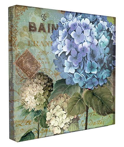 Stupell Home Décor Colorful Hydrangeas with Antique French Backdrop Stretched Canvas Wall Art, 17 x 1.5 x 17, Proudly Made in -