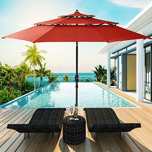 Patiassy 11 Feet Double Vented with Tilt Patio Umbrella Outdoor Table Market Umbrella for Balcony Garden Deck, 240 GSM Fabric for 5 Years No Fading, Red