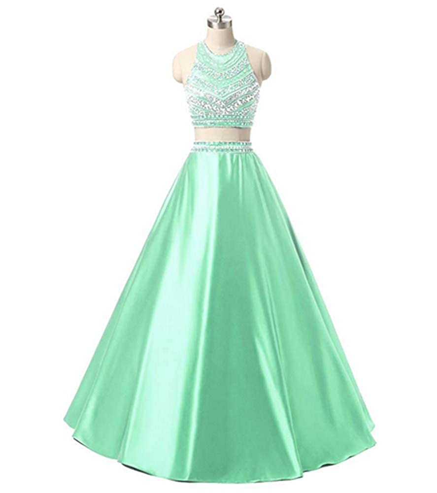 Mint Aiyue Yishen Satin 2 Pieces Beading Sequins Formal Floor Length Evening Party Dress