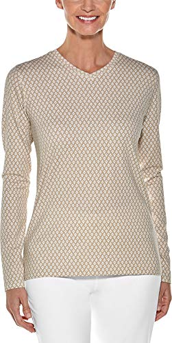 (Coolibar UPF 50+ Women's Everyday V-Neck T-Shirt - Sun Protective (X-Small- Taupe Etched)