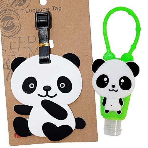 Hand Sanitizer Case Pack (DIYJewelryDepot Travel Pack Panda Sanitizer Cover Assorted Color + Hand Gel Disinfectant + Luggage Tag)