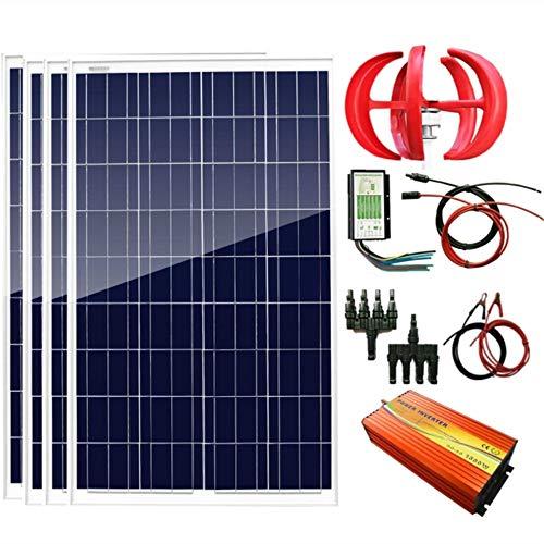AUECOOR 700W 12V Wind Solar Power: 1pcs 12V/24V 300W Wind Turbine Generator+4pcs 100W Poly Solar Panel+Hybrid Controller+1500W Power Inverter(Peak 3000W) +Accessories for Home Use ()