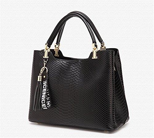 Patrón de cocodrilo XinMaoYuan Paquete femenino Bolso de piel de cuero bolso de cuero color simple Sección Transversal zipper,Bolso negro Negro