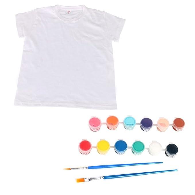 Vococal® Camiseta Blanca y Pintura de Tela y Pinceles de Pintura DIY Dibujo Conjunto de Pintura Juguetes Educativos para Niños: Amazon.es: Ropa y accesorios