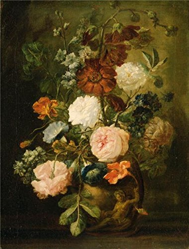 'Jan Van Huysum, Dutch Vase Of Flowers' Oil Painting, 12x16 Inch / 30x40 Cm ,printed On High Quality Polyster Canvas ,this High Resolution Art Decorative Prints On Canvas Is Perfectly Suitalbe For Hallway Decoration And Home Decoration And Gifts