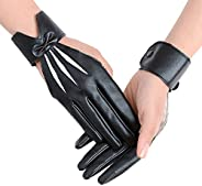 JISEN Women Five finger PU Leather With Wrist Band Pole Dancing Punk Gloves